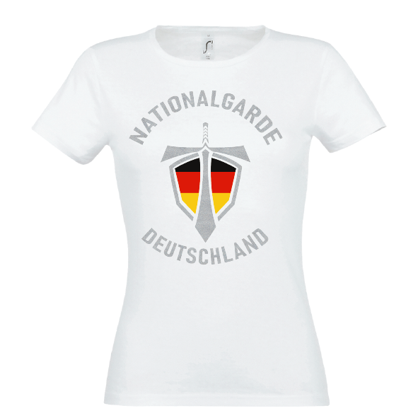 Nationalgarde silber Lady T-Shirt weiss