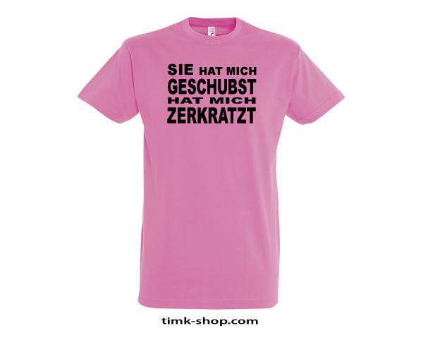 Geschubst-Zerkratzt T-Shirt rosa
