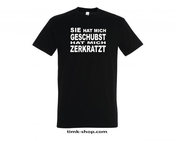 Geschubst-Zerkratzt T-Shirt schwarz