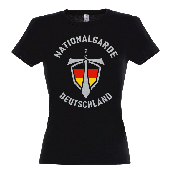 Nationalgarde silber Lady T-Shirt schwarz