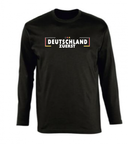 Deutschland zuerst Langarmshirt schwarz