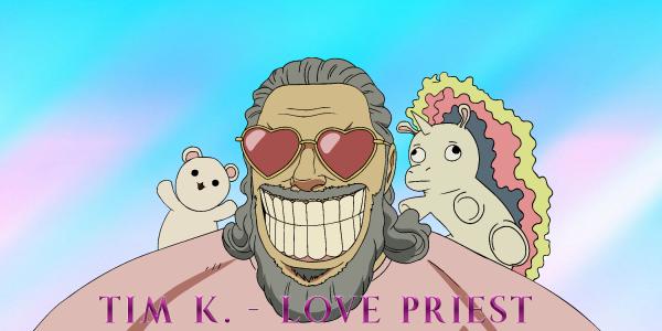 Love Priest Aufkleber blau groß
