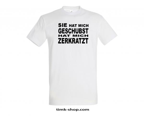 Geschubst-Zerkratzt T-Shirt weiss