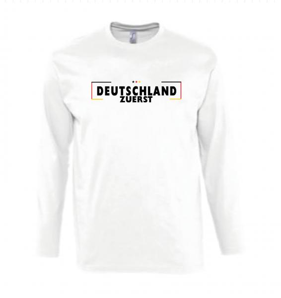 Deutschland zuerst Langarmshirt weiss