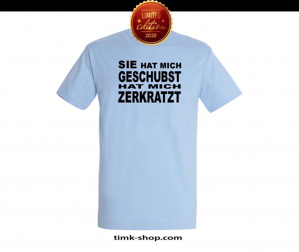 Geschubst-Zerkratzt T-Shirt blau